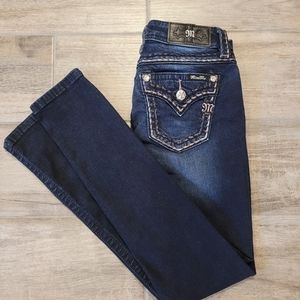 MISS ME HEAVY STITCH FLAP POCKET DARK SKINNY JEANS